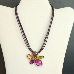 Swarovski multi colored crystal pendant necklace